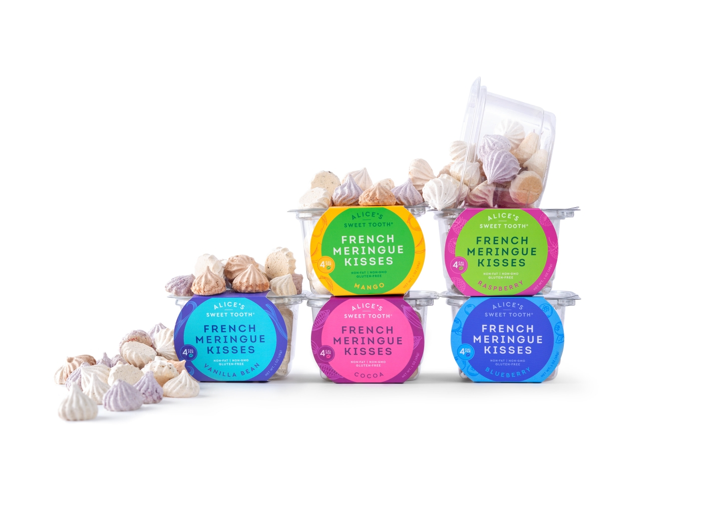 Alice's Sweet Tooth packaging flavors with meringues