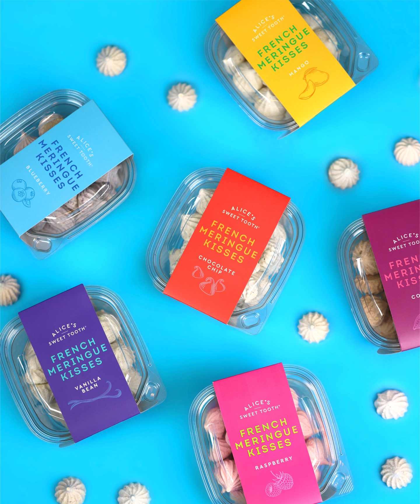 Alice's Sweet Tooth packaging flavors with meringues top view
