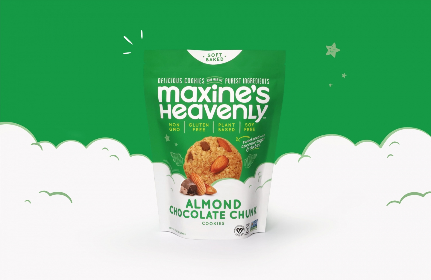 Maxine's Heavenly Almond flavor standup pouch with clouds background