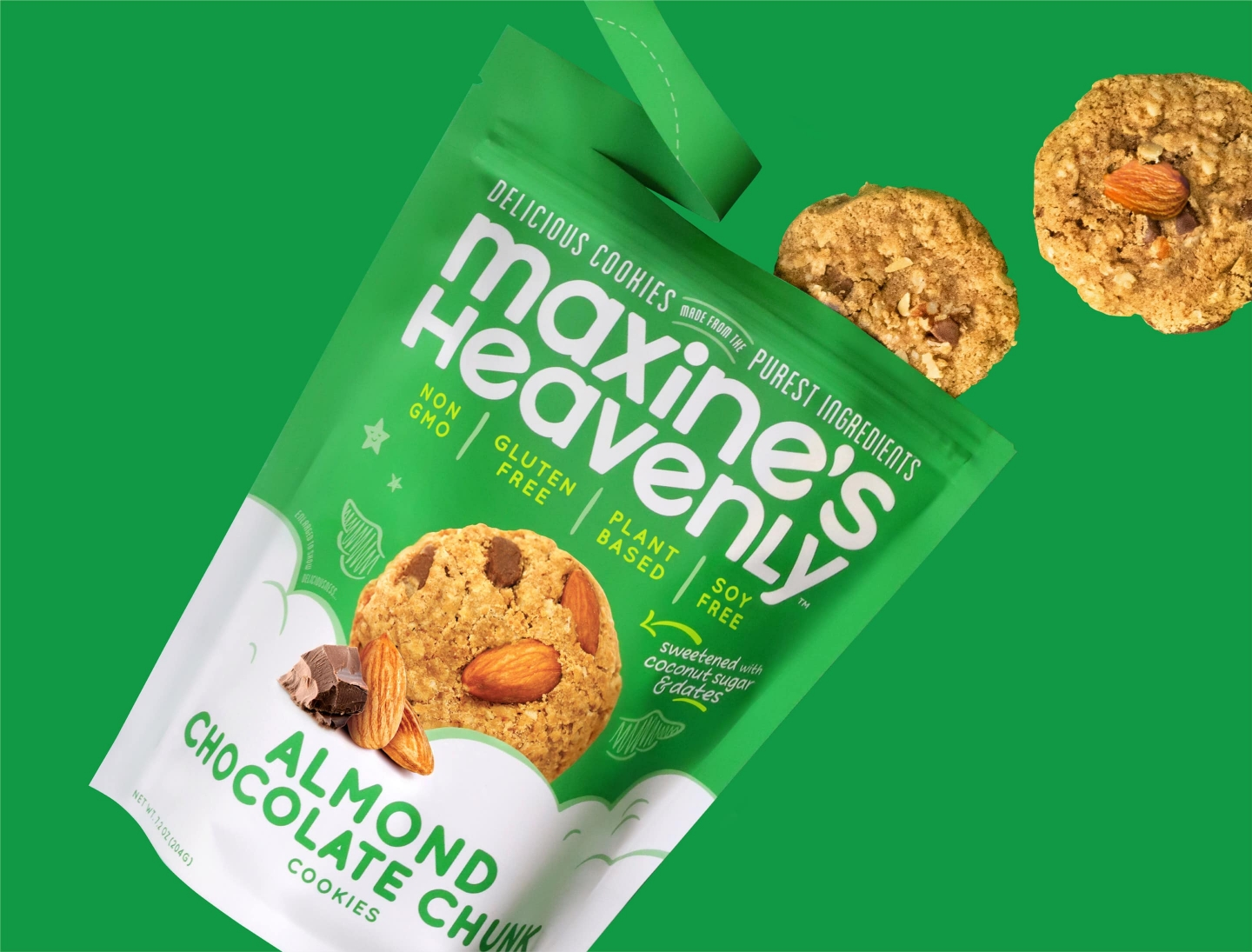 Maxine's Heavenly Almond flavor standup pouch with floating cookies