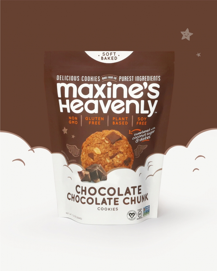 Maxine's Heavenly Chocolate flavor standup pouch with clouds background