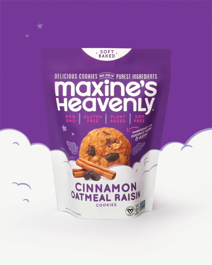 Maxine's Heavenly Cinnamon flavor standup pouch with clouds background