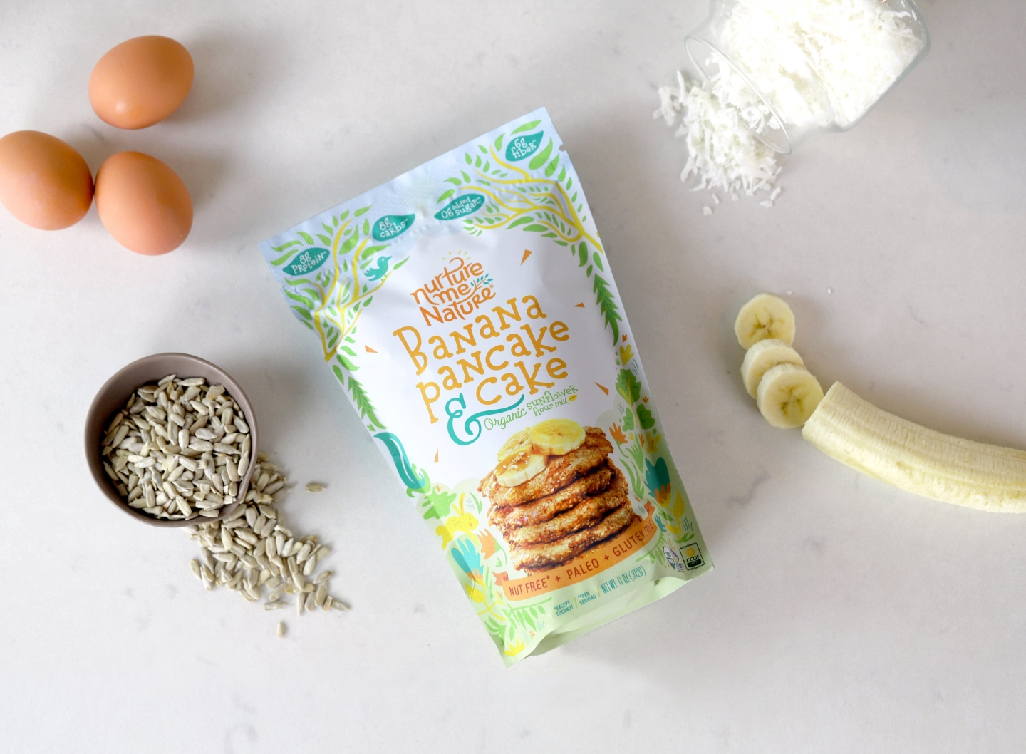 Banana Pancake packaging with healthy ingredients in kitchen