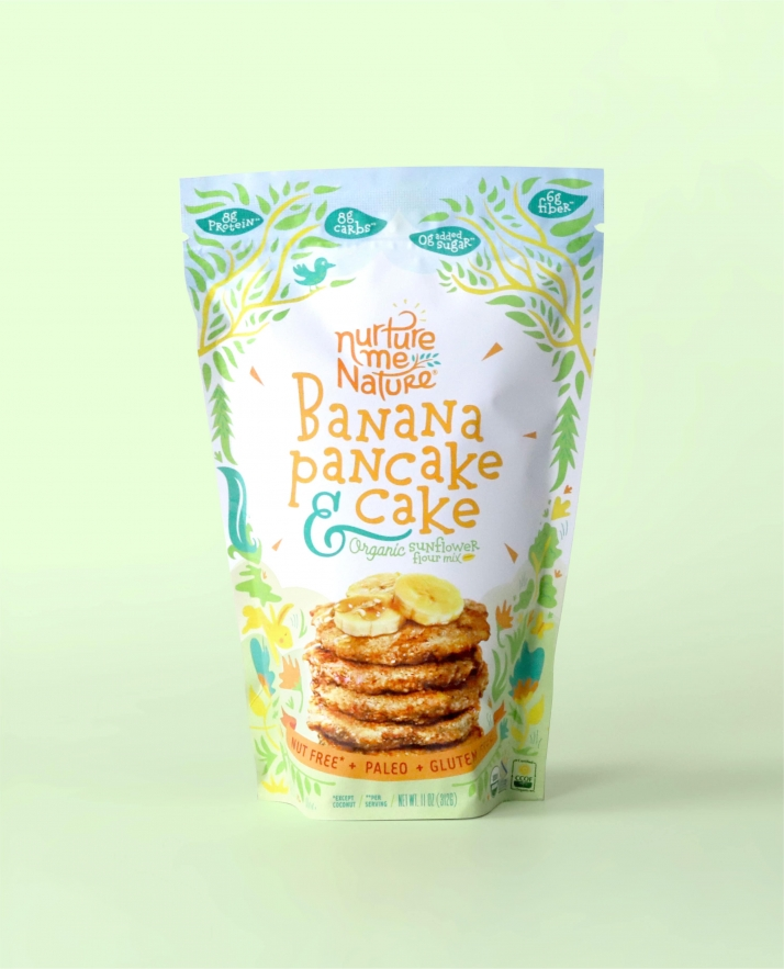 Nurture Me Nature Banana Pancake flavor packaging