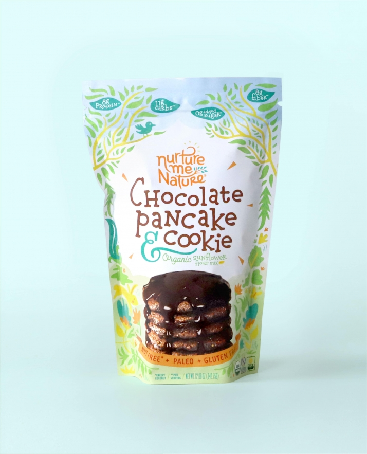 Nurture Me Nature Chocolate Pancake flavor packaging