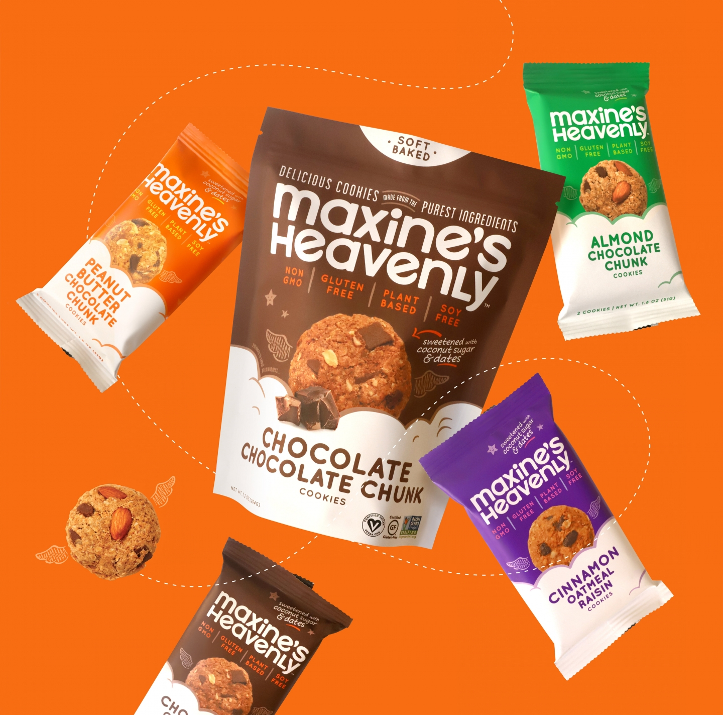 Cookie 2-packs and stand up pouch packaging floating